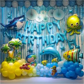 image of 【READY STOCK】OCEAN / UNDER THE SEA Theme Birthday Party Decoration Balloon Set