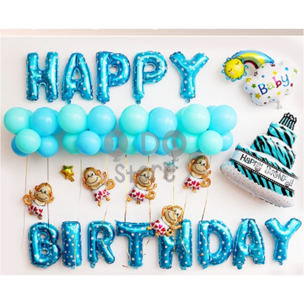 【READY STOCK】Monkey Boy Birthday Party Balloon Set ( BLUE )