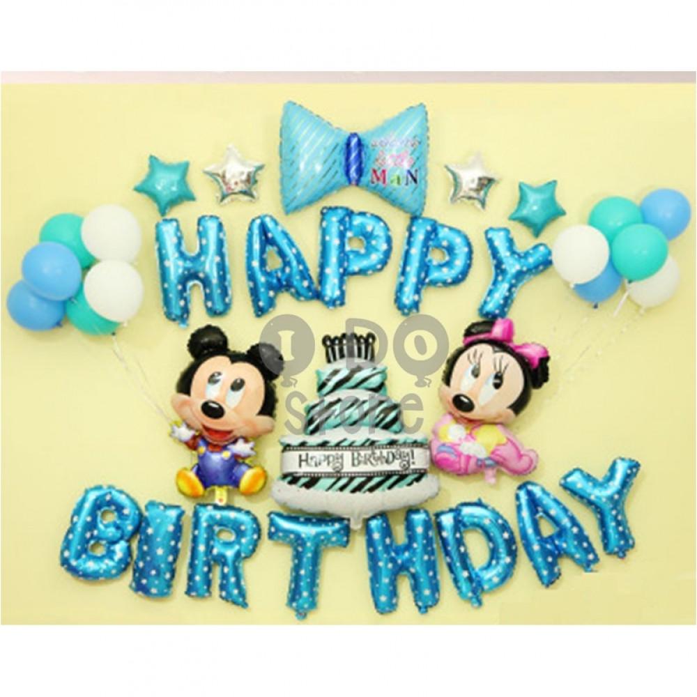 【READY STOCK】Mickey & Minnie Birthday Party Balloon Set ( BLUE )