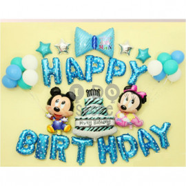 image of 【READY STOCK】Mickey & Minnie Birthday Party Balloon Set ( BLUE )
