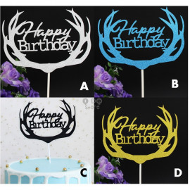 image of 【READY STOCK】Glitter DIY Happy Birthday/Baby Shower / Cake's Stand / Cake Topper