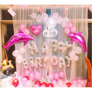image of 【READY STOCK】Romantic Pink Dolphin Happy Birthday Party Balloon Set