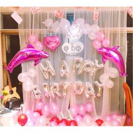 image of 【READY STOCK】Romantic Pink Dolphin Happy Birthday Party Balloon Set