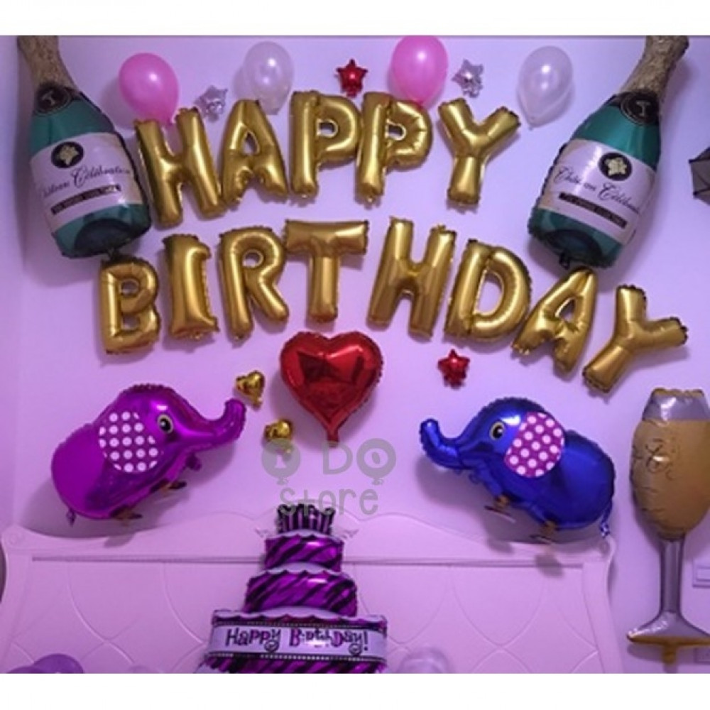 【READY STOCK】Elephant & Wine Adult Happy Birthday Party Balloon Set