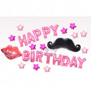 image of 【READY STOCK】Moustache & Lips Simple Birthday Party Balloon Set