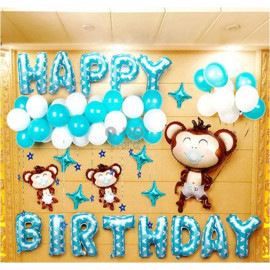 image of 【READY STOCK】Cute Monkey Boy with Pacifier Birthday/Baby Shower Balloon Set