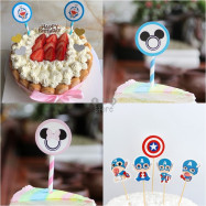 image of 【READY STOCK】Disney Cartoon Happy Birthday Cup Cake Topper / Cake's Stand