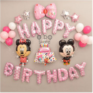 image of 【READY STOCK】New Design Mickey & Minnie Birthday Party Balloon Set ( PINK )