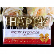image of 【READY STOCK】Gold Happy Birthday Cake Candle