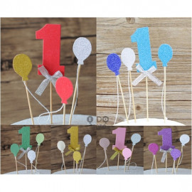 image of 【READY STOCK】Number 1 with Balloon Cake Topper/Cake's Stand Set ( 1st Birthday )