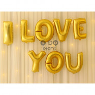 image of 【READY STOCK】Gold I LOVE YOU Foil Balloon