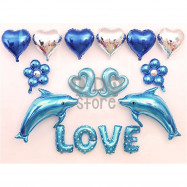 image of 【READY STOCK】LOVE Balloon Set ( Blue Dolphin )