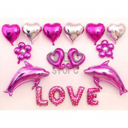 image of 【READY STOCK】LOVE Balloon Set ( Pink Dolphin )