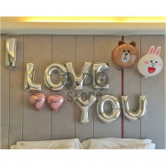 image of 【READY STOCK】I LOVE YOU Line Bear Balloon Set ( Connie & Brown )