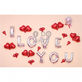 image of 【READY STOCK】Cupid I LOVE YOU Propose Balloon Set ( SILVER )