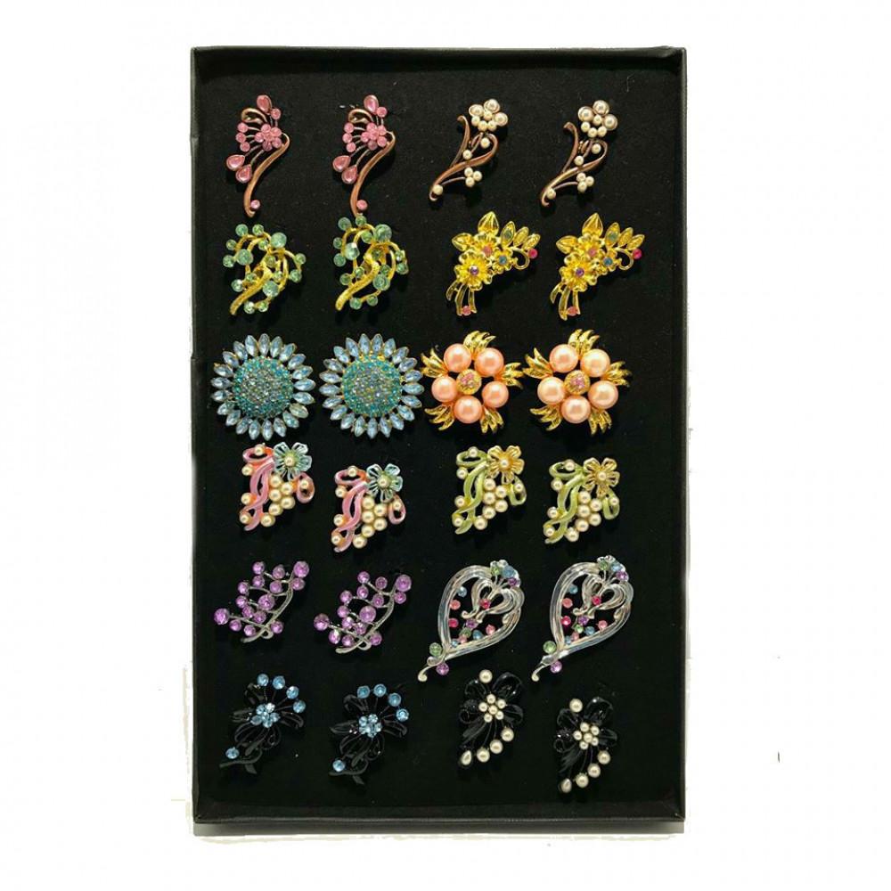 Wholesale Shoulder Pin / Brooch Randomly Mix Design Pair Color with Box 24pcs