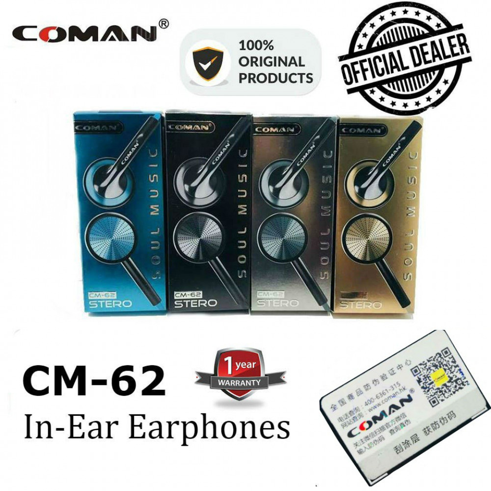 Original Coman In-Ear Bass Earphones CM62 Ready Stock