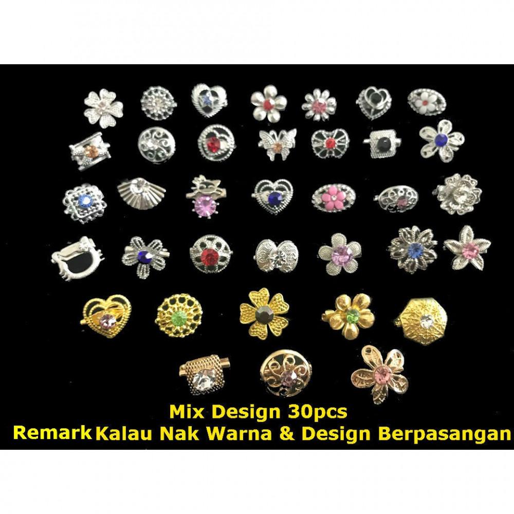 30pcs Mix Design Gold/Silver Shine Diamond Randomly Pick Baby Brooch Ready Stock