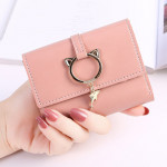 New Simple Meow Design Short Lady Wallet Ready Stock