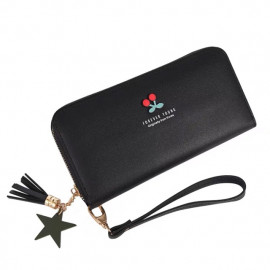 image of C54 - Cute Cherry x Forever Young Design Lady Long Purse with Zip Ready Stock