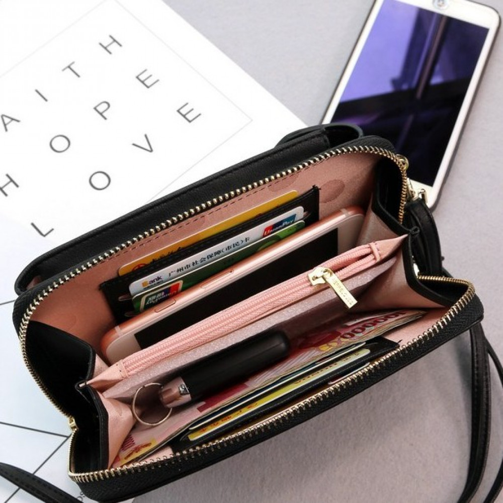 R11 Cell Phone Ladies Long Purse With Zip Compartments Fits Iphone X Ready Stock