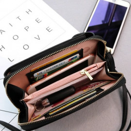 image of R11 Cell Phone Ladies Long Purse With Zip Compartments Fits Iphone X Ready Stock