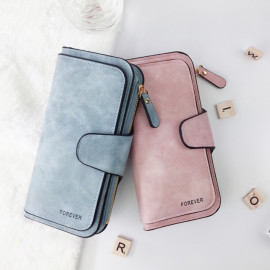 image of K229 Forever Young 2019 Design Long Purse With Zip & Card Holders Compartments