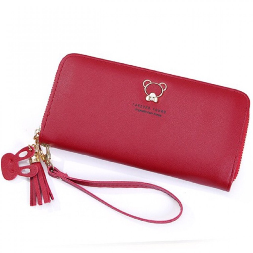 C53 Cute Diamond Bear Design Long Ladies Zip Purse Ready Stock