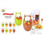 Fruit Fork 6pcs in Wooden Barrel with Box Ready Stock