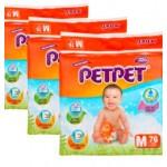 PetPet Mega Diapers Easy Tape S84 / M76 / L64 / XL52 (3 Packs)