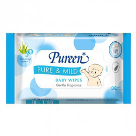 image of Pureen Baby Wipes -- Pure & Mild ( 1 x 30'S) Alcohol Free