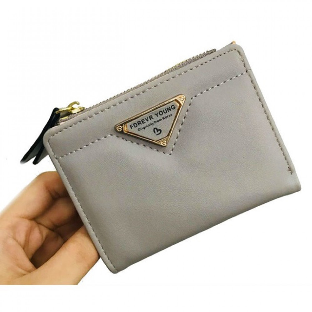 Forever Young Korean Young Style Zip Short Purse with Card Holder