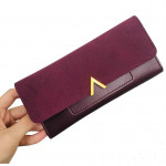 'V' Korean Style Stylish Lady Long Fold Over Purse with Card Holders