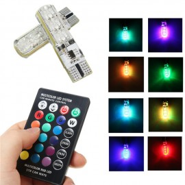 image of 2pcs Multi Color T10 5050 SMD RGB Remote 6 LED Controller Reading Wedge Light Bulb
