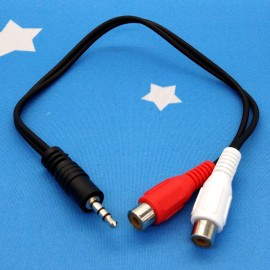 image of 3.5mm Headphone Male Plug to 2 RCA Female AV Audio Stereo AUX Cable ((T12-10)