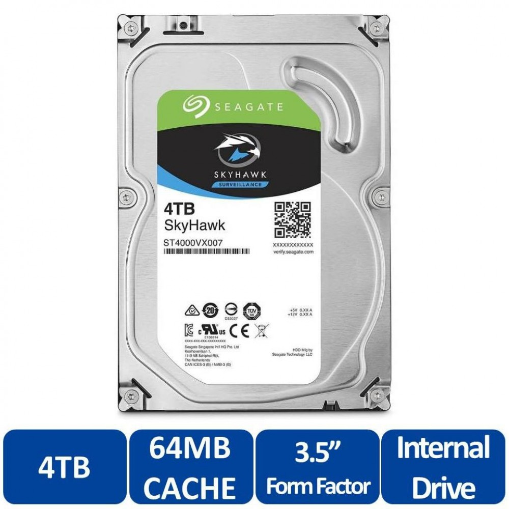 Seagate SkyHawk 4TB Surveillance 3.5 Sata Internal Hard Drive 6Gb/s 64MB Cache