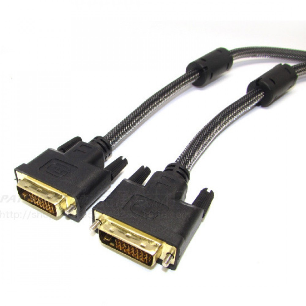 1.5M Gold-Plated Double Magnetic Ring DVI 24+1 Pin Male To DVI 24+1 Male Cable