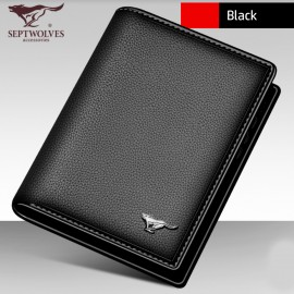 image of Original Premium Septwolves Men's 100% Short Leather Wallet