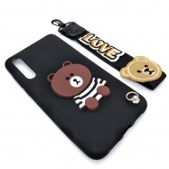 image of Huawei P20 Pro Cute 3D Bear Tpu Soft Back Case Free Short Hand Wrist Strap
