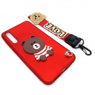 image of Huawei P20 Pro Cute 3D Bear Tpu Soft Back Case Free Short Hand Wrist Strap