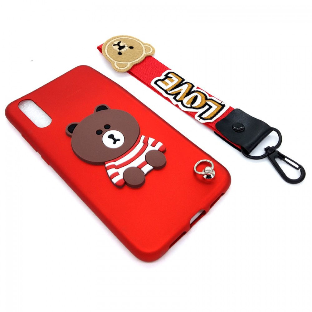 Huawei P20 Cute 3D Bear Tpu Soft Back Case Free Short Hand Wrist Strap