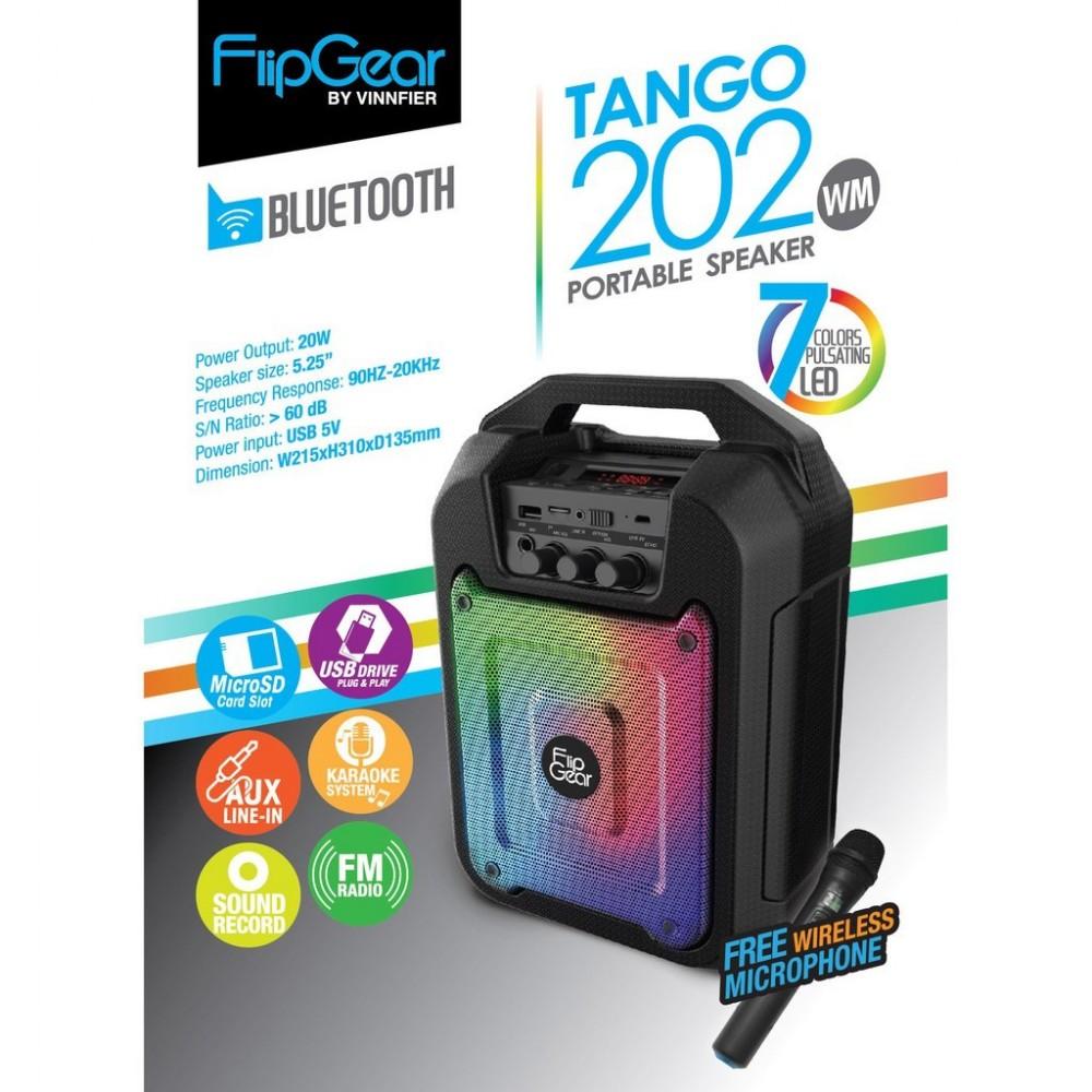 Official Tango 202 Flipgear Portable Speaker Wireless Mic Karaoke Bt Bluetooth Leather Black Perak Voice Rec