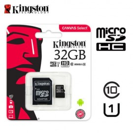image of Official Kingston 32GB microSDHC Class 10 UHS-I 80MB/s Read Card with SD Adapter