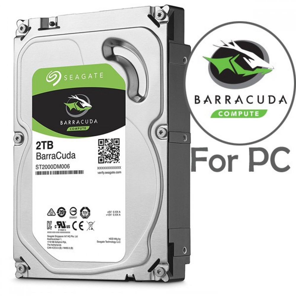 Official 2TB Seagate BarraCuda 3.5' 64MB Cache SATA 3.5-Inch Internal Hard Drive