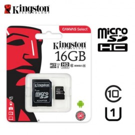 image of Official Kingston 16GB microSDHC Class 10 UHS-I 80MB/s Read Card with SD Adapte