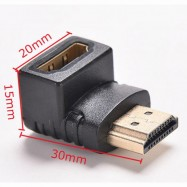 image of L Type 90 degree elbow HDMI Male to female Adapter(T15-12-2)
