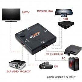 image of 1080P 3 PORT HDMI SWITCH VIDEO SWITCHER 3 INPUT 1 OUTPUT For HDTV DVD XBOX PS3