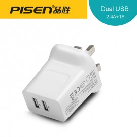 image of Official Pisen 2.4A/1A TS-C069 Fast Charging Dual Usb Output