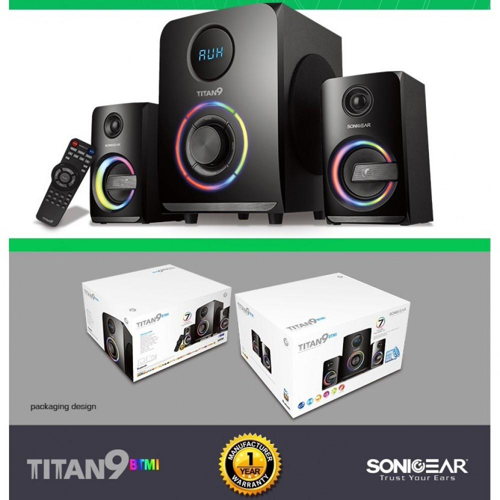 Official New Sonic Gear Titan 9 Btmi 7 Color Pulsating Led Evo Bluetooth Memory Card Usb Radio Fm Multimedia Speaker