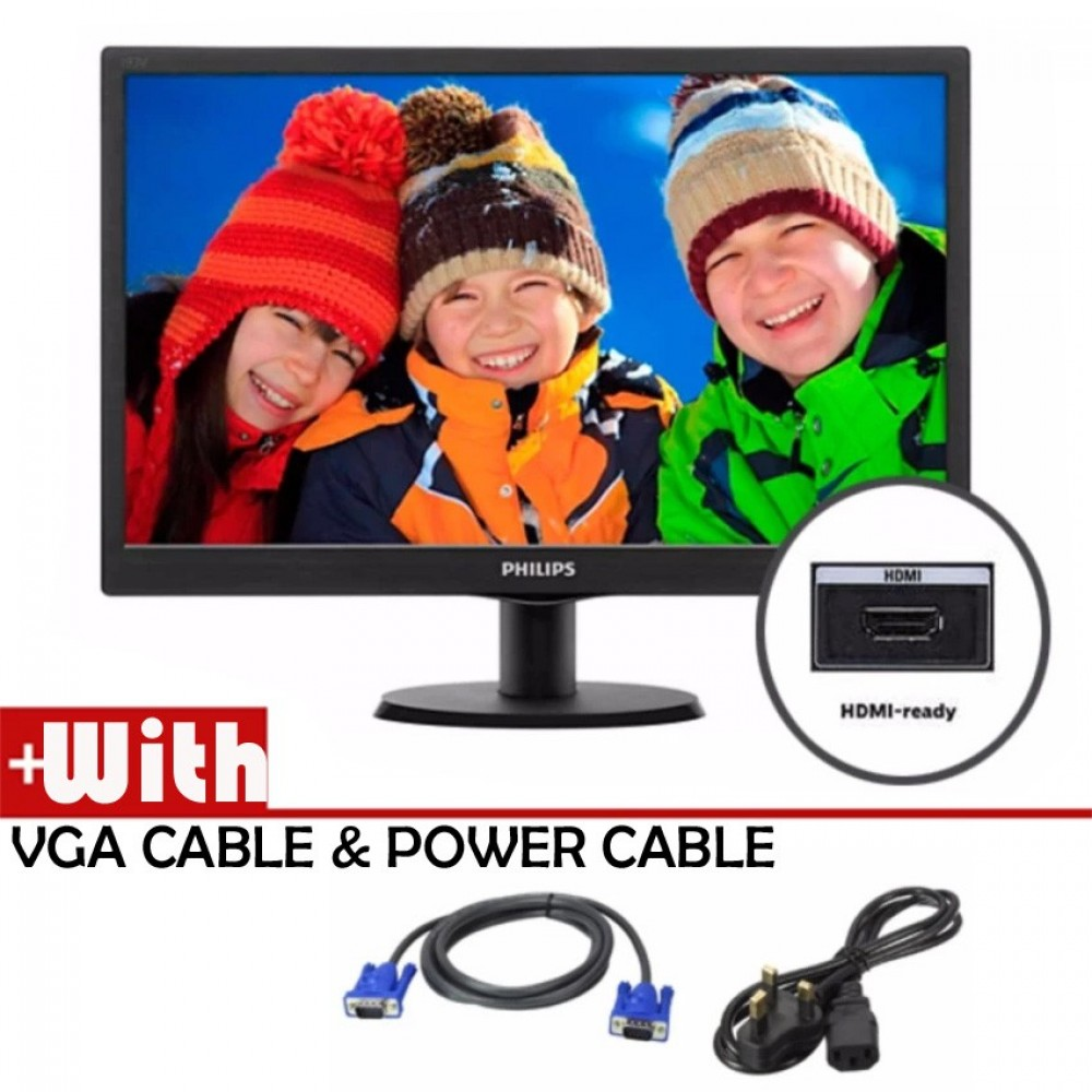 """Official Philips 18.5"""" 193V5LHSB2 HD LED Monitor With VGA And HDMI Port"""